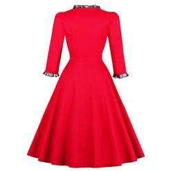 Women's Vintage Red Square Neck 3/4 Length Sleeve A-Line Swing Dress N14536