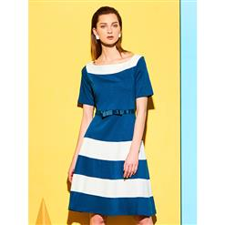 Midi Dresses, Casual Dresses For Women, Daily Dresses, Slim Fitting A-line Dresses, Slash Neck Blue Dress, #N14540