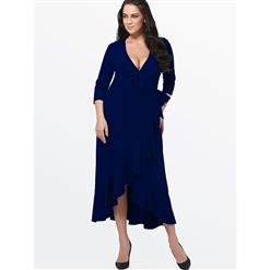 Evening Party Dress, Fishtail Maxi Dress, Fashion Blue Dress, Hot Sale Long Sleeve Dress, Plus Size Party Dress, #N14549