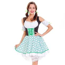 St Patrick's Day Costumes, Hallween Cosplay Costume, Leprechaun Costumes, Women's Sexy Cosplay Dress, Oktoberfest Costume, #N14625