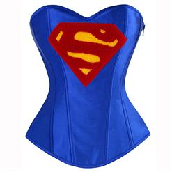 Halloween Costume Corset, Burlesque Corset for Women, Sexy Superhero Costume Cosplay, Superwoman Cospaly Corsets, #N14637