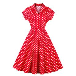 Women's Vintage Red Polka Dot Short Sleeves A-line Evening Club Party Swing Cocktail Dress N14642