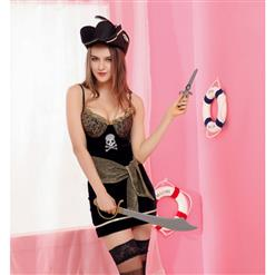 Sexy Pirate Costume, Deluxe Halloween Costume, Pirates Fancy Dress Costume, Cheap Evil Women's Pirate Costume, #N14648