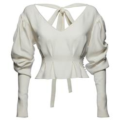 White Blouses, Sexy Women's Blouse, White Blouse Top, Sexy Blouse for Women, Puff Sleeve Blouse, #N14651