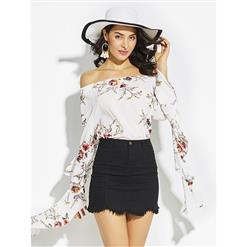 White Blouses, Sexy Women's Blouses, White Blouse Top, Sexy Blouse for Women, Flare Sleeve Blouse, #N14654