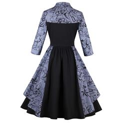 Women's 1950s Vintage Collared 3/4 Length Sleeve Patchwork A-Line Swing Party Dress N14728