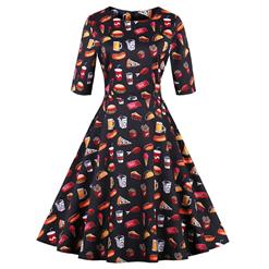 Vintage Dress for Women, Fashion Dresses for Women Cocktail Party, Casual Swing Dress, Half Sleeve Swing Dress, 50s Vintage Dresses, #N14730