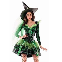 Black Witch Costume, Vintage Witch Halloween Party Dress, Sexy Green Witch Costume, Liquid Green Witch Womens Costume, Witch Adult Costume, #N14748