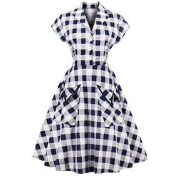 Retro Dresses for Women 1960, Vintage Dresses 1950's, Casual Day Dress, Sexy Dresses for Women Cocktail, Cheap Party Dress, Blue Checked Dress, #N14813