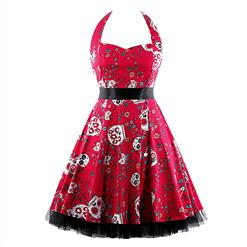 Retro Dresses for Women, Vintage Dresses for Women, Sexy Dresses for Women Cocktail Party, Casual Mini dress, Skull Print Swing Daily Dress, #N14862