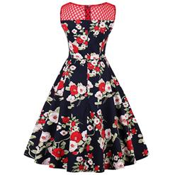Retro 1950's Bateau Neck Floral Print Hollow Sleeveless Vintage Dress N14947