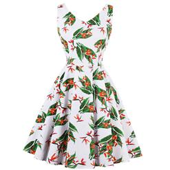 Vintage Dresses for Women, Cocktail Party Dress, Vintage Sleeveless Tank Dresses, A-line Cocktail Party Swing Dresses, Floral Print Vintage Dress, V Neck Vintage Dress, #N14990