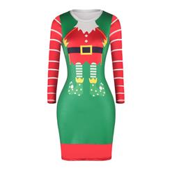 Women's Christmas Dress, Bodycon Christmas Dress, Long Sleeve Christmas Dress, Womens Christmas Deer Print Dress, Round Neck Midi Dress, #N15080