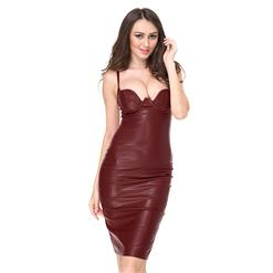 Club Dress For Women, Sexy Leather Dresses For Women, Spaghetti Strap Backless Dresses, Sexy Strap Sleeveless Bodycon Dress, Faux Leather Midi Dress, Sexy Party Dress, #N15124
