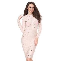 Club Dress For Women, Sexy Dresses For Women, Studded Bandage Dresses, Bandage Bodycon Party Dress, Pink Bandage Dress, Sexy Bandage Party Dress, #N15136