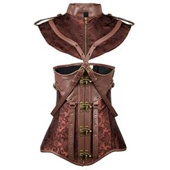 Steampunk Brown Underbust Corset, Sexy Steel Boned Corset, Hot Sale Jacquard Corset with Jacket, Women's Faux Leather Underbust Corset, Brown Vintage Underbust Corset, #N15139