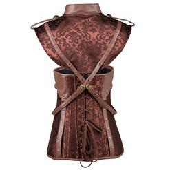 Women's Vintage Brown Steel Boned Faux Leather Jacquard Underbust Corset Skirt Set N15140