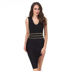 Sleeveless Bodycon Dress, V Neck Dress for Women, Black Studded Dress, High Split Dress, Elegant Party Dress for Women, Back Zipper Dress, Sexy Bodycon Dress for Women, #N15234