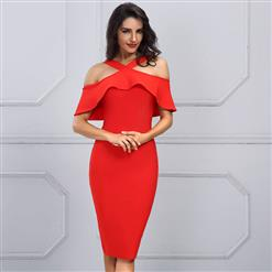 Sexy Dress for Women, Fashion Midi Dresses, Bodycon Party Dress, Cold Shoulder Bodycon Dress, Falbala Party Dresses, Red Bodycon Bandage Dress, #N15248