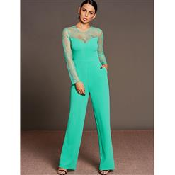 Lace Jumpsuit for Women, Long Sleeve Jumpsuit, Back Zipper Jumpsuit, Solid Color Jumpsuit for Women, Sexy Jumpsuit, #N15291