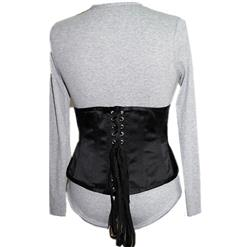 Women's Sexy Long Sleeve V Neck Snap Buttons Bodysuit with Underbust Corset N15329
