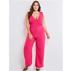 Sleeveless Jumpsuit, V Neck Jumpsuit for Women, Full Length Jumpsuit, Plus Size Jumpsuit for Women, Solid Color Jumpsuit, Sexy Jumpsuit for Women, #N15352
