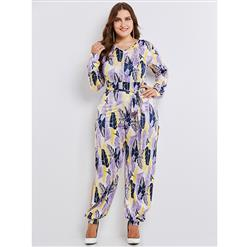 Long Sleeve Jumpsuit Plus Size, V Neck Jumpsuit for Women, Full Length Jumpsuit, Plus Size Jumpsuit for Women, Feather Print Jumpsuit, Lace-up Jumpsuit, High Slit Jumpsuit, #N15353