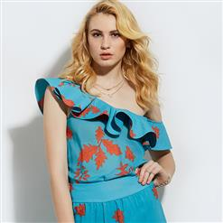 Blue Floral Print Blouses, Sexy Women's Blouses, Blue Blouse Top, Sexy Blouse for Women, One Shoulder Blouse, Floral Print Blouses, #N15816