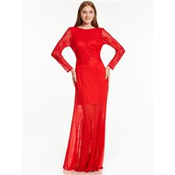 Sexy Evening Gowns, Ankle-Length Evening Gowns, Red Round Neck Prom Gowns, Lace Evening Dresses, Long Sleeve Red Evening Gowns, #N15909