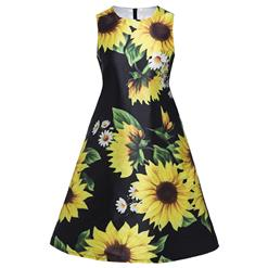 Fashion Black Print Dress for Women, Sunflower Print Sleeveless Round Neck Dress, Black Print Midi Zipper Dress, Women's Elegant Party Knee-Length Dress, Casual Stylish Summer Dress, #N15982