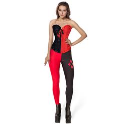 Superhero Joker Miss Halloween Costume, Women's Black and Red Halloween Costume Set, Sexy Joker Miss Outfit, Sexy Leggings Sets, Two Pieces Set, #N16011