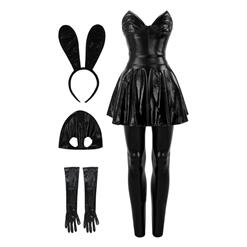Women's Sexy Faux Leather Rabbit Outfit Bunny Girl Cosplay Adult Costume N16126