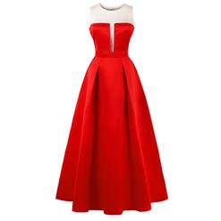 Sleeveless Round Neck Maxi Evening Gowns, Red Sleeveless High Waist Maxi Evening Dress, Women's Mesh Splicing Prom Gowns, Elegant Red Long Evening Gowns, #N16274