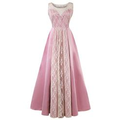 Bateau Neck Maxi Evening Gowns, Pink High Waist Evening Dress, Women's Bateau Neck A-line Prom Gowns, Elegant Pleated Long Evening Gowns, Lace Patchwork Long Prom Gowns,#N16285