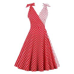 White/Red Sleeveless V Neck Dress, Sleeveless High Waist Dot Print Dress, Sleeveless Printed A-Line Midi Dress, Casual Polka Dot Print A-Line Dress, Retro Polka Dot Print Dress for Women, #N16316