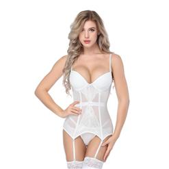 Sexy White Bustier Corset, Fashion Body Shaper, Cheap Shapewear Corset, Women's White Bustier Top, Charming See-through Bustier Corset, #N16324