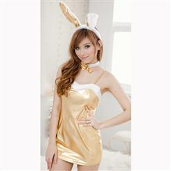 Sexy Adult Bunny Girl Costume, Sexy Gold Spaghetti Strap Nightdress, Faux Leather Lingerie Nightdress, Valentine's Day Sexy Lingerie Cosplay Costume, Sexy Bunny Girl Cosplay Costume, #N16610