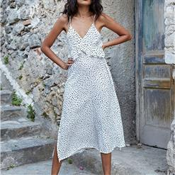 Vintage Spaghetti Strap V Neck Maxi Dress, Fashion Dot Printed Beach Dress, Casual Holiday Printed Maxi Dress, Women's Printed Beach Party Maxi Dress, Casual High Waist A-Line Dot Print Dress, Fashion Printed Pullover Long Dress, #N16667