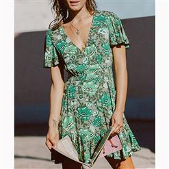 Vintage Short Sleeve V Neck Midi Dress, Casual Floral Printed Beach Dress, Casual Holiday Printed Midi Dress, Women's Printed Beach Party Mini Dress, Casual High Waist A-Line Printed Dress, Short Sleeve V Neck Ruffle Print Dress, Fashion Printed Pullover Long Dress, #N16682
