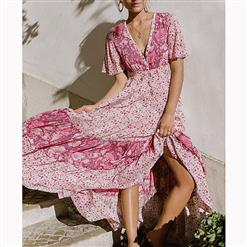 Vintage Short Sleeve V Neck Maxi Dress, Casual Floral Printed Beach Dress, Casual Holiday Printed Maxi Dress, Women's Printed Beach Party Long Dress, Casual High Waist A-Line Printed Dress, Short Sleeve V Neck Ruffle Print Dress, Fashion Printed Pullover Long Dress, #N16700
