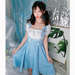 Lovely Maid Costume with Headwear, Adult Maid Cosplay Costume, Lovely Lolita Dress Costume, Maid Fancy Dress Cosplay Costume, Blue French Maid Halloween Costume, Short Sleeve Square Neck Midi Dress, #N17038