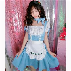 Lovely Maid Costume with Headwear, Adult Maid Cosplay Costume, Lovely Lolita Dress Costume, Maid Fancy Dress Cosplay Costume, Blue French Maid Halloween Costume, Short Sleeve Square Neck Midi Dress, #N17040
