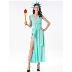 Blue Goddess Costume, Statue of Liberty Halloween Costume, Grecian Goddess Adult Costume, Statue of Liberty Cosplay Costume, Statue of Liberty Robe Adult Costume, #N17099