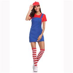 Lovely Mario Halloween Costume, Adult Plumber Suspender Skirt, Adult Plumber Cosplay Costume, Classical Plumber Suspender Skirt Costume, Adult Mario Plumber Costume, #N17154