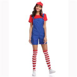 Red/Blue Adult Plumber Overalls Mario Cosplay Costume N17158