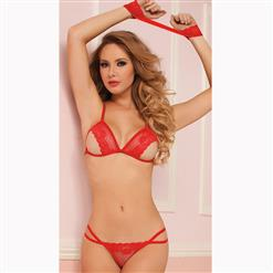 Sexy Three-Point Lingerie Set, Sexy Red See-through Lace Lingerie Set, Bra Top and T-back Set, Sexy Hollow Out Lace Lingerie Set, Three-Point Lace Lingerie Set for Women, Sexy Lace Lingerie Set with Handcuffs, #N17210