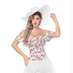 Fashion Printed Body Shaper Corset, Elegant Printed Shapewear Corset, Off Shoulder Floral Print Overbust Corset, Plastic Bone Shapewear Overbust Corset, Off Shoulder Printed Outerwear Corset, Printed Overbust Corset for Women, #N17293