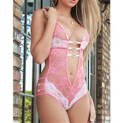 Sexy Pink Plunging Neckline See-through Floral Lace Bodysuit Lingerie N17332