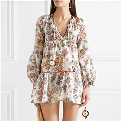Vintage Long Sleeve V Neck Mini Dress, Casual Floral Printed Beach Dress, Casual Holiday Printed Mini Dress, Women's Printed Beach Party Mini Dress, Casual Printed Loose Dress , Long Sleeve Off Shoulder Printed Dress, Fashion Printed Pullover Mini Dress, #N17344