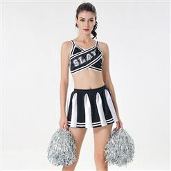 Sexy Adult Cheerleader Costume, Spaghetti Strap Crop Top Skirt Set, Backless Crop Top Mini Skirt Set, Sexy Cheerleader Mini Skirt Set, Fashion Spaghetti Strap Cheerleader Costume, Backless Cheerleaders Costume Set, #N17418